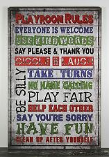 PRIMITIVE COUNTRY RUSTIC WOOD PLAYROOM RULES SIGN HANDMADE HOME WALL DECOR 0931