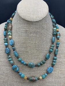 Barse Mehndi Beaded Necklace- Mixed Stones & Bronze- NWT