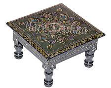 "Handmade Wooden Side Table Painted Stool Table Square Pooja Chowki (Black) 9"""