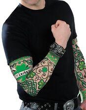 1 x Ireland St Patricks Day Shamrock Tattoo Sleeve Irish Adults Fancy Dress 0278