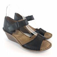 Clarks Artisan Black Leather Open Toes Slingback Wedge Sandals Size EU37.5 UK4.5