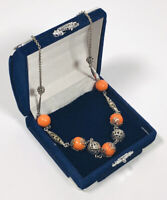 Vintage Necklace Silver Tone Chain & Orange Glass Beads Collar Length Pretty
