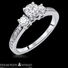 0.77 CT E/VS Round Cut Enhanced Diamond Engagement Ring 14k White Gold Wedding