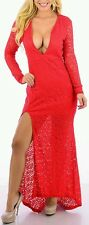 Red Long Sleeve Floral Lace Maxi Dress