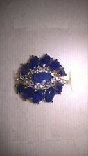 Glass Filled Sapphire with White Topaz Ring / 14K Yellow Gold Plating