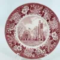 "Vintage Old English Staffordshire Ware Pink ""Washington Memorial Chapel"" Plate"