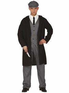 Mens 1920s Shelby Gangster Costume Suit Peaky Flat Cap Adult Fancy Dress Outfit