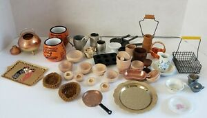 Assorted Dollhouse Miniatures Accessories Lot Bowls Platters Baskets Etc