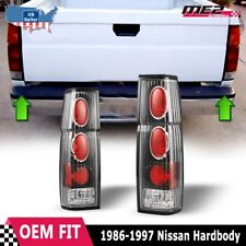 Fits 86-97 Nissan Hardbody D21 Pickup Brake Tail Lights Black Clear PAIR Set
