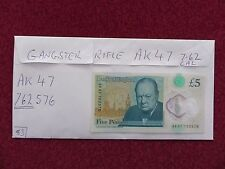 NEW FIVER POLYMER £5 POUND NOTE, 7.62 CARTRIDGE IN SERIAL No AK 47 762576