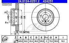 1x ATE Bremsscheibe vorne Belüftet 345mm Für BMW 5er-Reihe 24.0132-0162.2