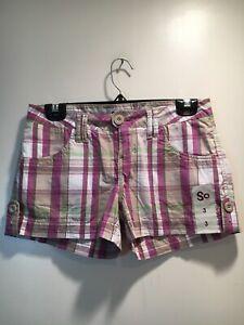 NWOT SO Women's Plaid Short Shorts Junior Size 3