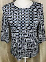 J Jill Wearever Collection Womens Size Petite XS Black Blue White Geometric Top