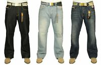 BNWT MENS KAM BOOTCUT JEANS IN BLACK BLUE WASH COLOURS 30-42 FREE BELT INCLUDED