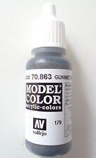 (12,94€/100ml) Vallejo Model Color, Gunmetal Grey, 70.863, 17ml, Neu