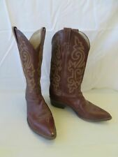 Men's Justin Red-Brown Leather Cowboy Boots Size 9 1/2 D