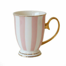 Bombay Duck Striped Mug in Pink & White & Gold, Gift Boxed, China Tea Cup,