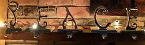 Pottery Barn PEACE Stocking Holder Set of 5 Silver Tone