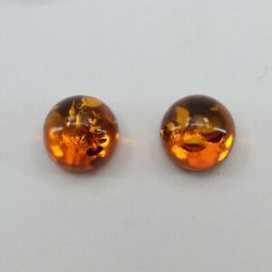 Cognac /  BALTIC AMBER Stud Post Round 10 mm Earrings 925 STERLING SILVER #3028