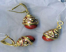 & Earrings Set # 11-049-Er Silver Russian Handmade Faberge Egg Pendant