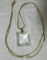 Vintage Gold Tone Faceted Square Crystal Pendant Necklace