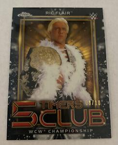 2021 Topps Chrome WWE RIC FLAIR 5 Timers Club Black Refractor 7/10