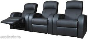 Cyrus Contemporary Leather Theater Seating 3 Reclines In Black For Living Room