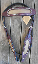 HAIR ON HIDE WIDE CHEEK AND BROW LEATHER HEADSTALL COB/FULL, NEW WITH TAGS