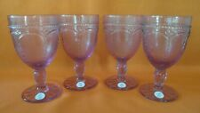 Princess House Marbella Lilac Pedestal Set of 4 Glasses (1731) New!