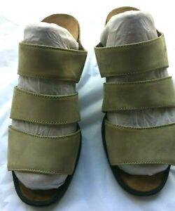 NAOT Nubuck Leather Slide Sandal Heel Light Olive Green Comfort EU Size 36 / L 5
