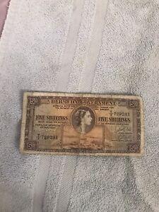 BERMUDA 5 SHILLING BANK NOTE ~ MAY 1st 1957 ~ CIRCULATED ~ GOOD CONDITION