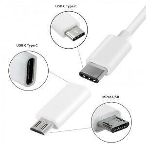USB 3.1 Type C Female to Micro USB Male Data Charging Adapter with Type C Cable