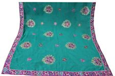 Vintage Dupatta Long Scarf Georgette Rama Green Color Embroidered Veil Stole