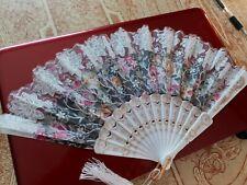 Vintage Hand Fan Spain Spanish Italian Gold Sparkle Rose White/Cloth Souvenir