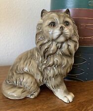 Vintage 7� Majestic Grey Long Hair Cat With Lion Mane Made In Japan Ceramic