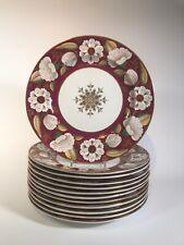 12 Cranberry Dinner Plates  Ashworth Real Ironstone  Pattern B5967 Circa 1880