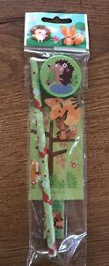 set Papeterie carnet taille crayon regle crayon gomme 🦊 renard thème forêt Neuf