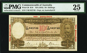 Australia 10 Shillings Riddle/Sheehan ND (1934) Pick-20 R-10 Very Fine PMG 25