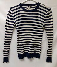 YVES SAINT LAURENT Ladies Sweater Blue & White Striped Shirt Sz MEDIUM