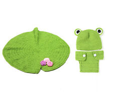 Unisex Baby Knitted Crochet Green Frog Hat Diaper Lotus Pad Photography Props
