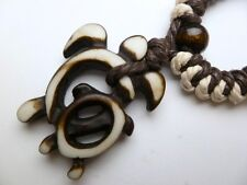 Buffalo Bone White Turtle Pendant Adjustable Cord Necklace #30192-30 (QTY 2)