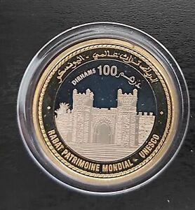 MOROCCO – RARE BIMETAL PROOF 100 DIRHAMS COIN 2012 YEAR Y#161 UNESCO CHELLAH