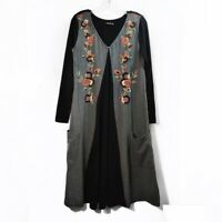 Eshakti Floral Embroidered Long Sleeve Dress Black Gray Womens Size Medium M