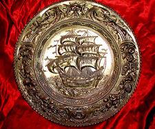 Antique 1890s MEDIEVAL ADVENTURERS SHIP Baroque SHIELD! Mythology! KING NEPTUNE!