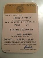 1975 Boy Scouts Of America Pack 24 Staten Island NY Den Mother Membership Card