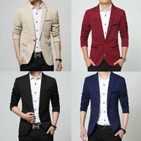 Fashion Men Wedding Blazer Lapel Jacket Slim Fit Formal Suit Outdoor Casual Coat
