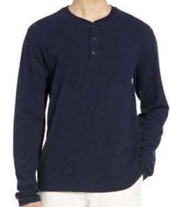 NWT Vince. Mens Solid Long Sleeve Henley Coastal/Grey Size L
