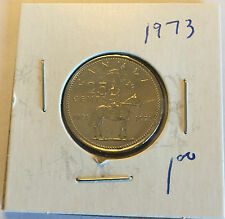 1973 Canadian 25 Cent in BRILLIANT UNCIRCULATED (BU) Condition