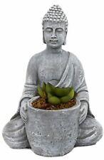 Buddha Statue Ornament Decoration With Artificial Faux Succulent Plant