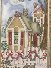 Unused Christmas Card Glitter Gingerbread Victorian House W/Envelope Picket Fenc